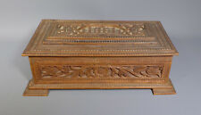 ANTIQUE 19TH C. ANGLO INDIAN CARVED SANDALWOOD WOODEN BOX CASKET MYSORE