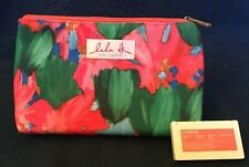 Clinique Lulu DK Cosmetic Bag w Matching Eyeshadow Compact. Floral Pattern. New