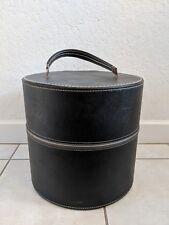 "Vintage Travins Hat Wig Box Large 13"" tall Black Vinyl Blue Interior Made in Usa"