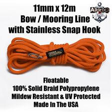 Docking Braid Dock Rope 11mm x 12.1m / 40ft Polyproplylene Bow Line ORANGE!