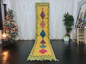 "Moroccan Handmade Boujaad Runner Rug 2'4""x11'8"" Berber Geometric Yellow Wool Rug"