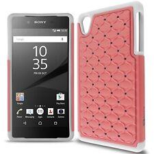 For Sony Xperia Z5 Case Light Pink / White Hybrid Diamond Bling Skin Phone Cover