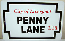 """Penny Lane - City of Liverpool - on a 12""""x8"""" Aluminum Sign - Made in the USA"""