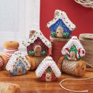 Sunrise VILLAGE HOUSES Set of 5 Sequin Ornaments Kit - NEW
