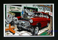 "Hot Rod Drag Racing Art Print Poster 1955 Chevrolet 55 Chevy 11"" by 17"" Office"