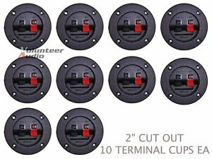 10) RSBT Scosche Subwoofer Speaker Round Box Terminal Cup Spring Post Sub Square