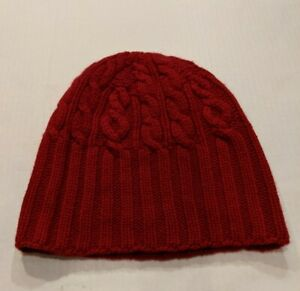 Pure Cashmere RED Ribbed Cable Knit 100% Cashmere Beanie Hat
