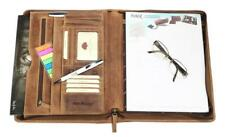 Greenburry Vintage Schreibmappe DIN A4 Ledermappe Konferenzmappe Leder braun