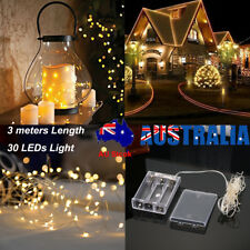 3 M 30 LED Battery Powered Copper Wire String Fairy Xmas Party Lights Warm White
