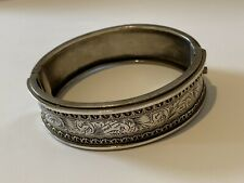 Antique Victorian Engraved Filigree Sterling Silver Ladies Cuff Bangle Bracelet