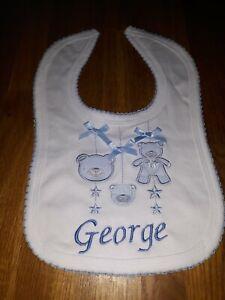"""PERSONALISED BABY BOY TEDDY BEAR BIB """" GEORGE """""""