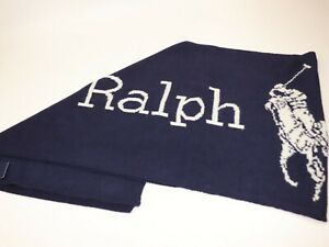 NWT $128 RALPH LAUREN 66x16 Unisex Navy Cream Wool Blend PONY Logo Winter Scarf