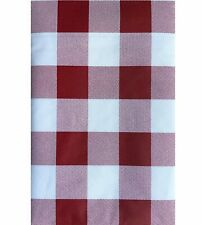 Picnic Style Vinyl Tablecloth Buffalo Gingham Check BBQ Red White Asst. Sizes