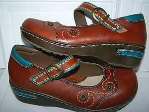 NEW L'Artiste Spring Step Sugarcane Mary Jane Wedge Brown tool Leather Shoe 7.5M