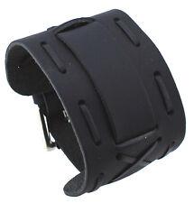 Nemesis WX13-K Wide Black Leather Cuff Wrist Watch Band