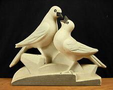 Groupe scupture art-déco vers 1920 colombes au nid émail perlé signé doves nest