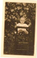 Old Vintage Antique Photograph Adorable Baby Sitting in High Chair