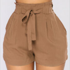 Women Pants Summer Casual Loose Shorts Bow Beach High Waist Short Trousers S-2XL