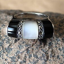 Black Onyx, Marcasite & Mother of Pearl  in .925 Sterling Silver Ring Size 7