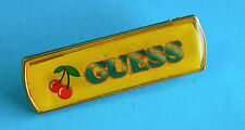 Vintage Promotional Metal Badge/Lapel Pin  - GUESS  (Clothing?) with Cherries