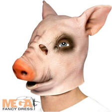 Overhead Pig Mask Halloween Fancy Dress Scary Animal Horror Adults Costume New