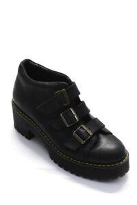 Dr. Martens  Womens Buckle Strap  Platform Leather Ankle Boots Black Size 10
