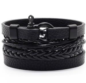 bracciale uomo pelle in cuoio con corda e acciaio braccialetto set di bracciali