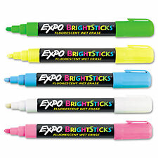 1 Pack - EXPO - Bright Sticks Fluorescent Wet Eraser Markers - 5 Colors - New