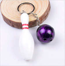 Mini bowling pin and ball keychain,bowling key ring,bowling ball keychain Purple