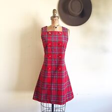Red Plaid Corduroy 1960's Vintage 1960s Day Shift Mod Go Go Gogo Scooter Dress S
