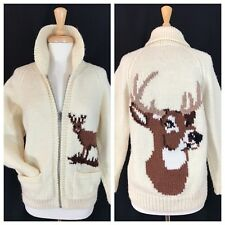 Hand Knit DEER Elk Stag Pattern Cardigan Sweater Thick Ivory Wool Zip Womens S M