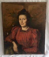 Ancien TABLEAU , HUILE sur TOILE 19eme , PORTRAIT de FEMME