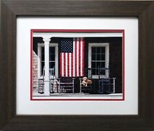 "Zhen Huan Lu ""American Flag"" CUSTOM FRAMED Art Dog Patriotic Porch Retriever"