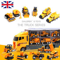 UK 11in1 Truck Vehicle Car Toy Play Vehicles in Carrier Construction Set