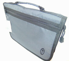 Extra Large Bible Cover, Gray Canvas Bag Case with Embroidered Cross Design