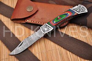 Hunting Nest Custom Handmade Damascus Art folding Knife WOOD  Handle 512H
