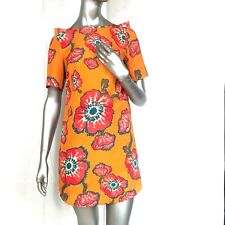 Tucker size S Target Women's Orange Floral Ruffle Back Short Sleeve Shift Dress
