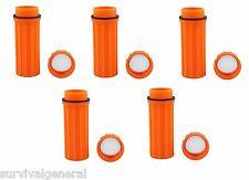(5) 3 in 1 Waterproof Storage Match Box Orange Mirror Striker Container Sruvival