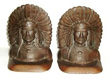 2 Antique Brass or Bronze Figural Bookends