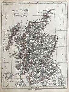 1845 Antique Map; Scotland by Chapman & Hall / J.W. Lowry