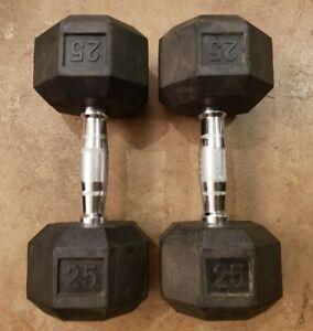 Pair of 25lb pair Rubber Hex Ergonomic Grip Dumbbells ergo 50lbs total weights