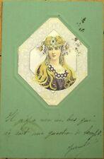 Art Nouveau 1902 Color Litho Postcard, Blonde Woman & Silver