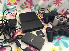 Sony PlayStation 2 Slim Charcoal Black Console & 3 Controllers