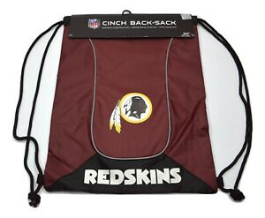 Washington Redskins Team Colors NFL Nylon Cinch Back Sack Drawstring Backpack