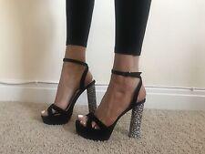 Size 4 Public Desire Black Tie Around Strappy Sandals Heels Shoes Glitter Heel