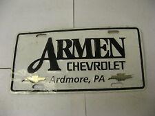 Booster Front License Plate Dealer Armen Chevrolet Chevy Ardmore PA Pennsylvania