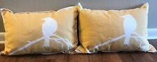Throw Pillow Bird on Branch Home Decoration Yellow gold bird cream 20x14 modern