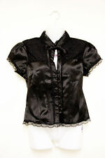 LIVING DEAD SOULS black satin & lace blouse - gothic steampunk Victorian small L