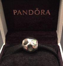 Authentic Pandora Love You Black Enamel Heart Sterling Silver Retired Pandora