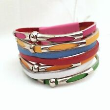 NEW BRIGHT MULTI COLOURED LEATHER CUFF BRACELET PINK GREEN BLUE  YELLOW RAINBOW